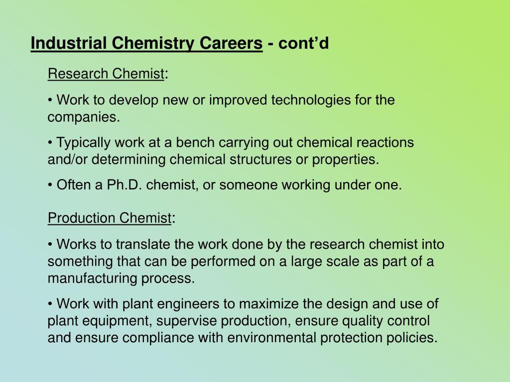 Industrial Chemistry Careers