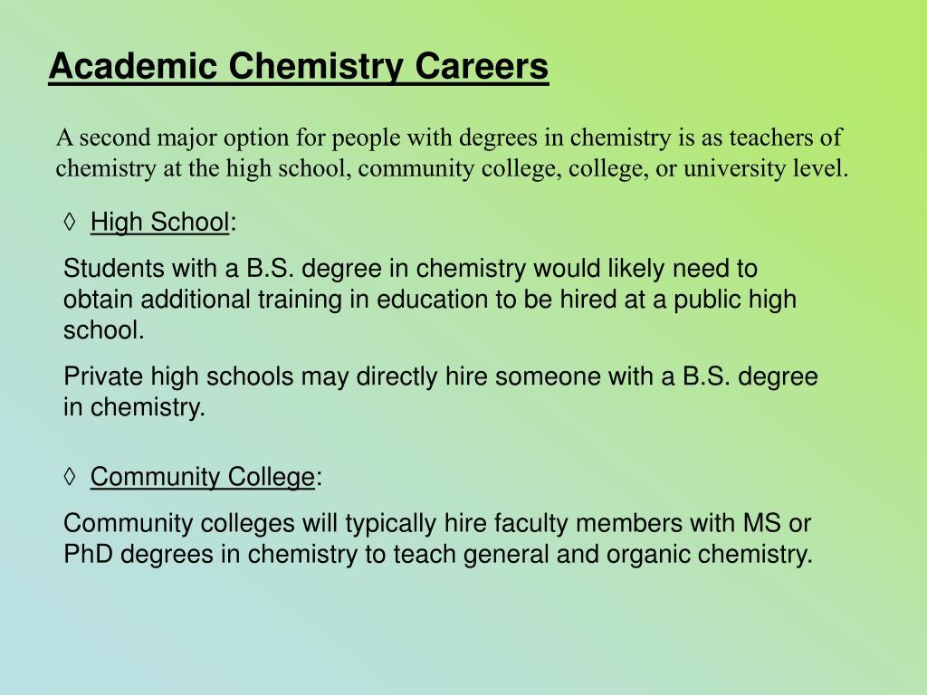 Academic Chemistry Careers