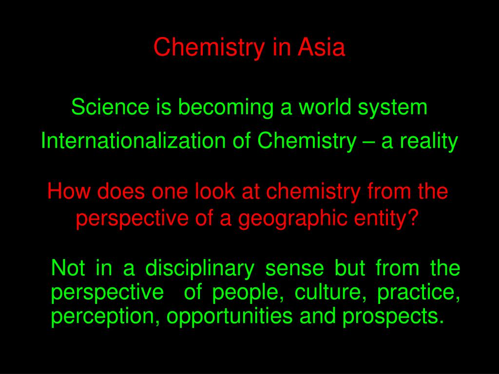 How does one look at chemistry from the perspective of a geographic entity?