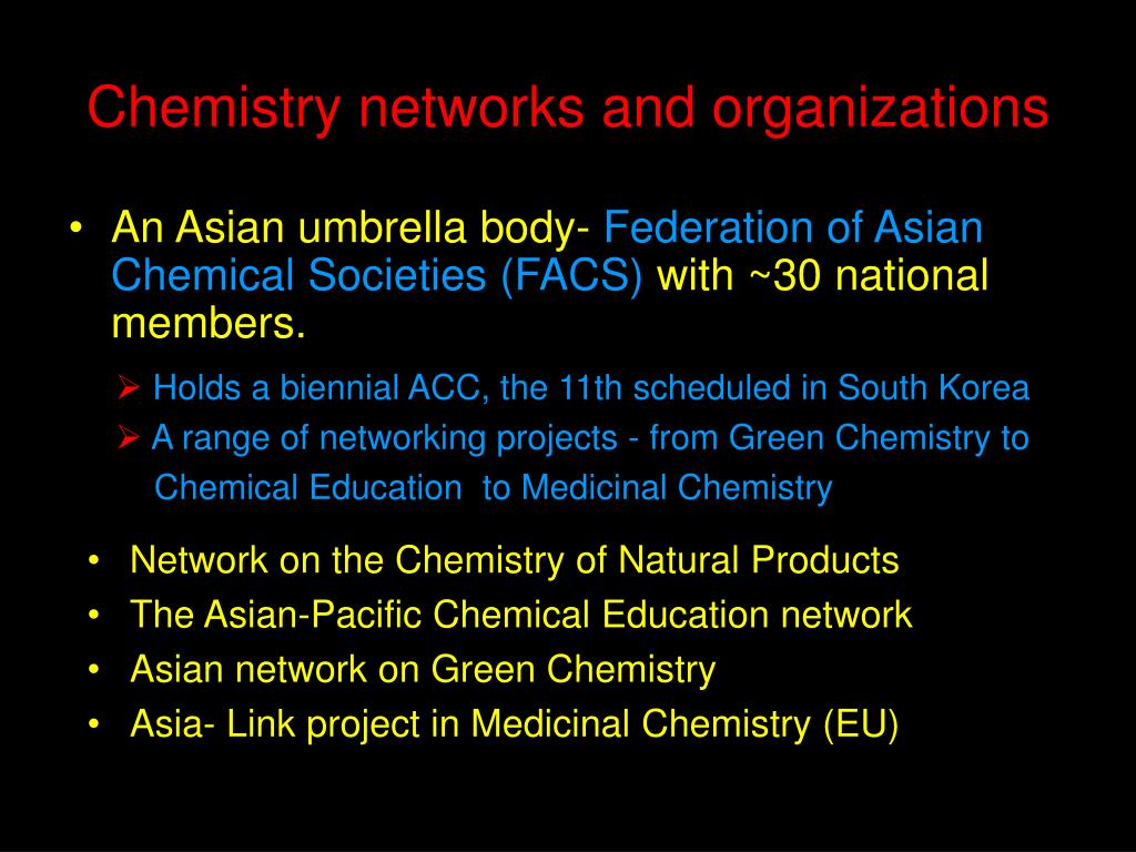 Chemistry networks and organizations