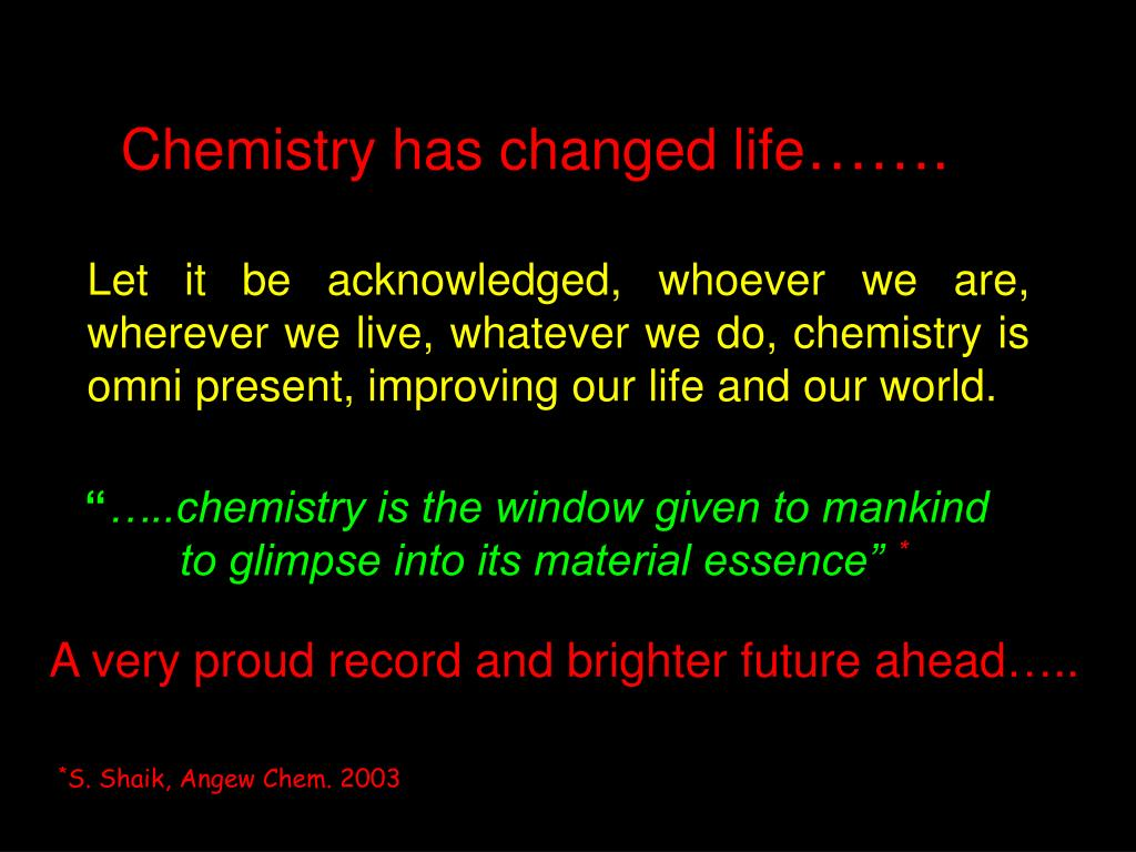 Chemistry has changed life