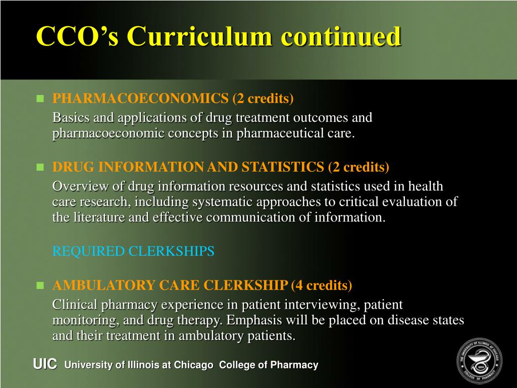 CCO's Curriculum continued