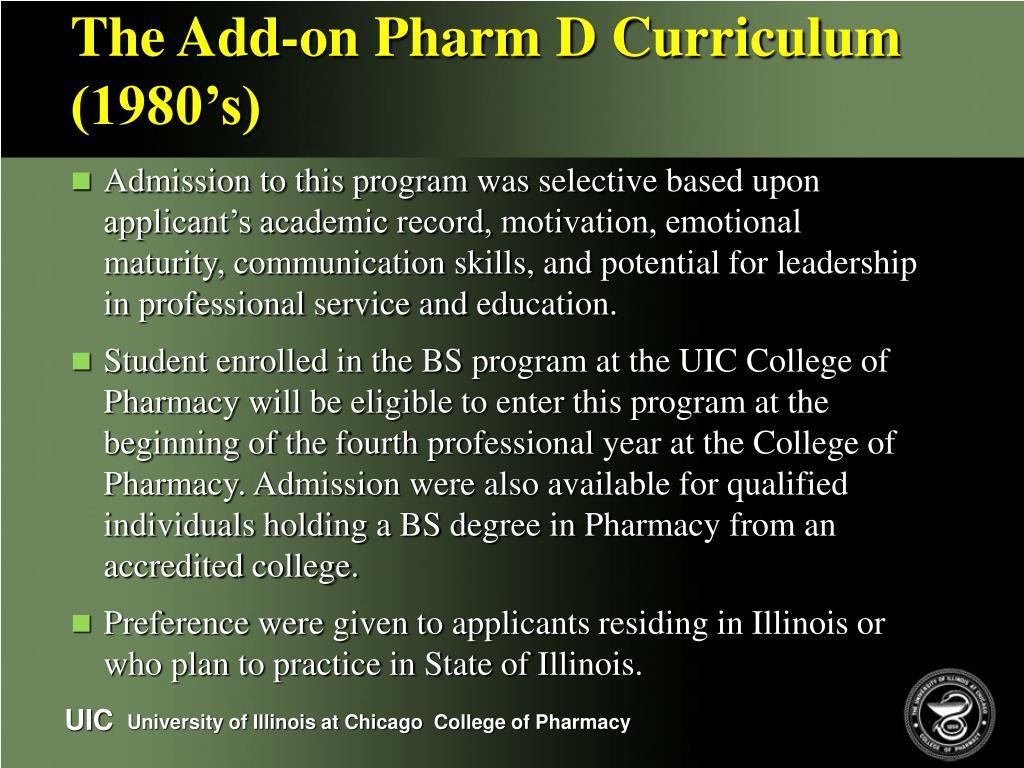 The Add-on Pharm D Curriculum (1980's)