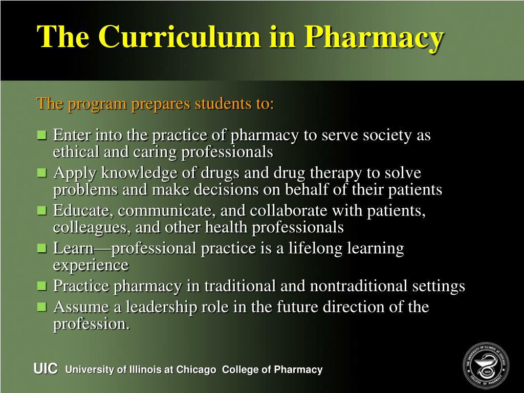 The Curriculum in Pharmacy
