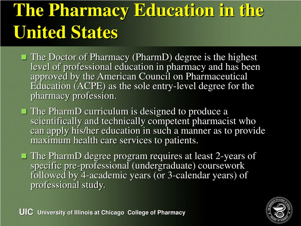 The Pharmacy Education in the United States
