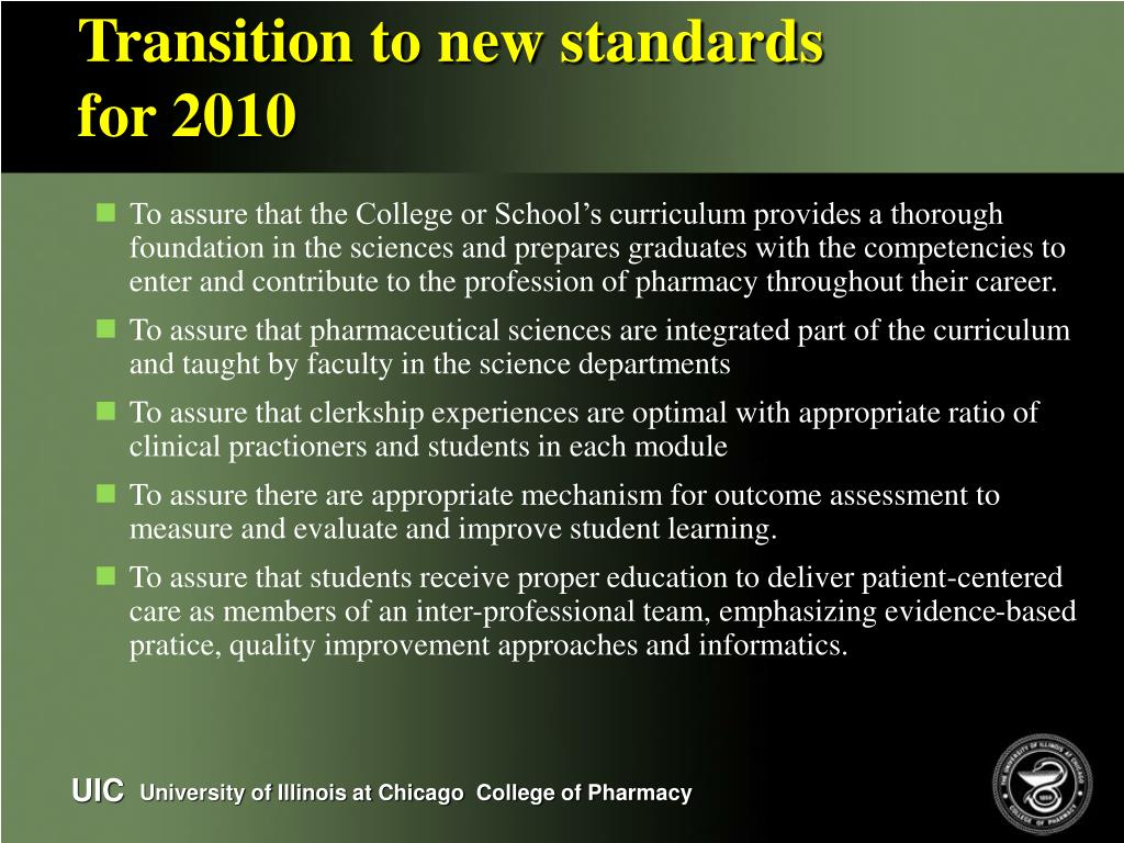 Transition to new standards