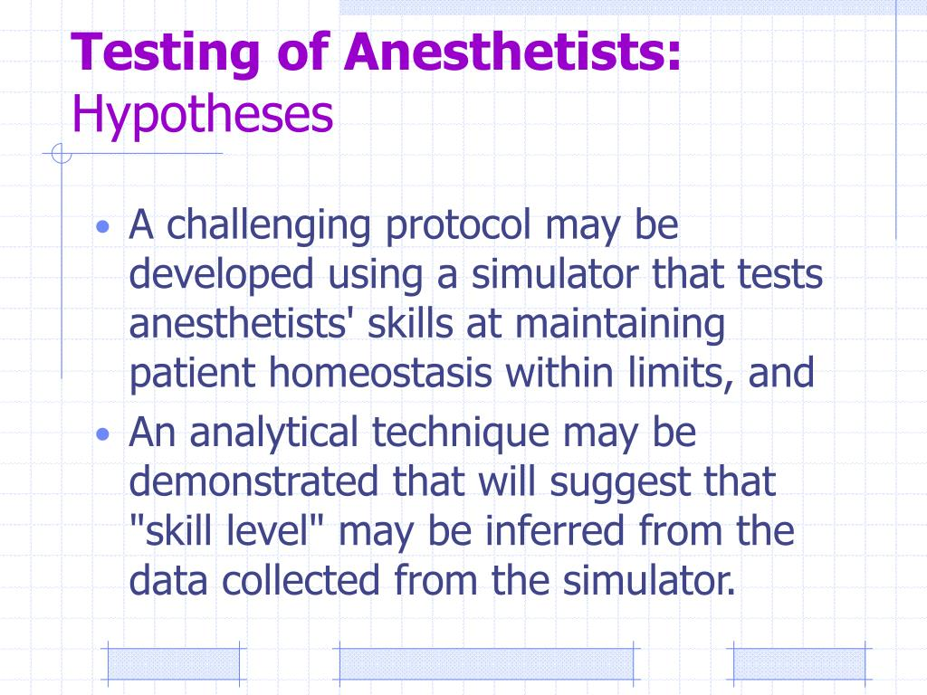 Testing of Anesthetists: