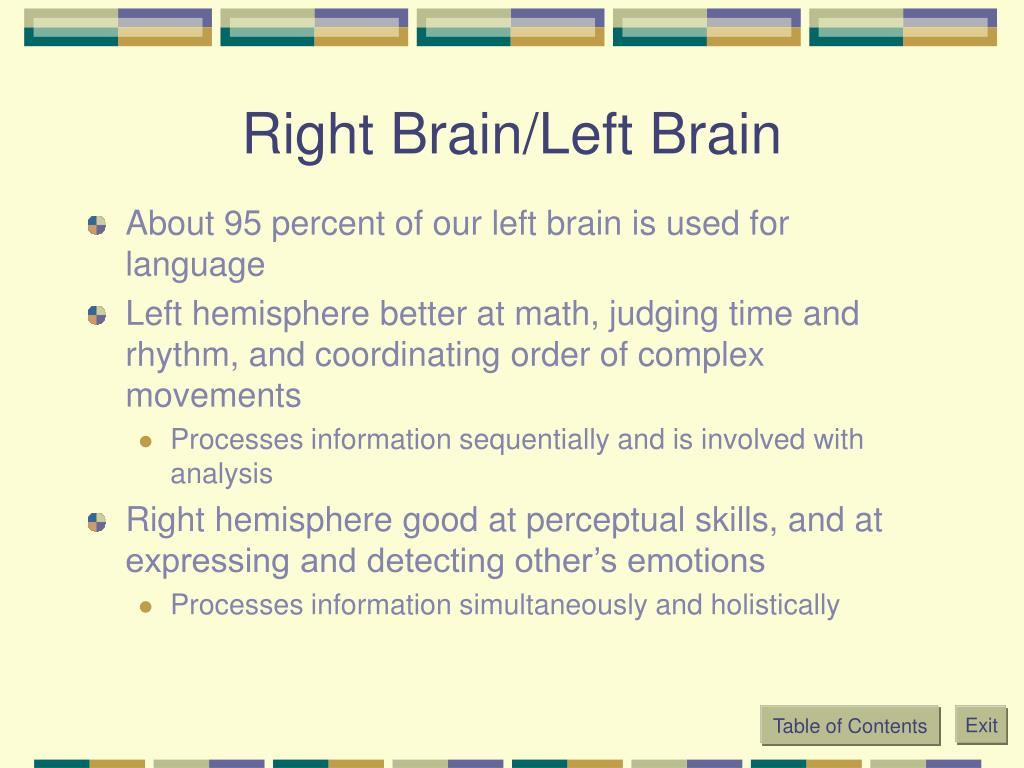 Right Brain/Left Brain