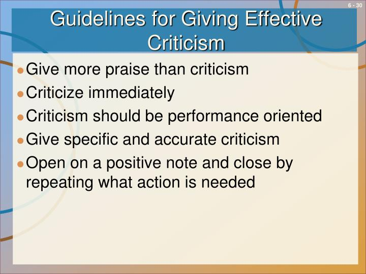 Guidelines for Giving Effective Criticism