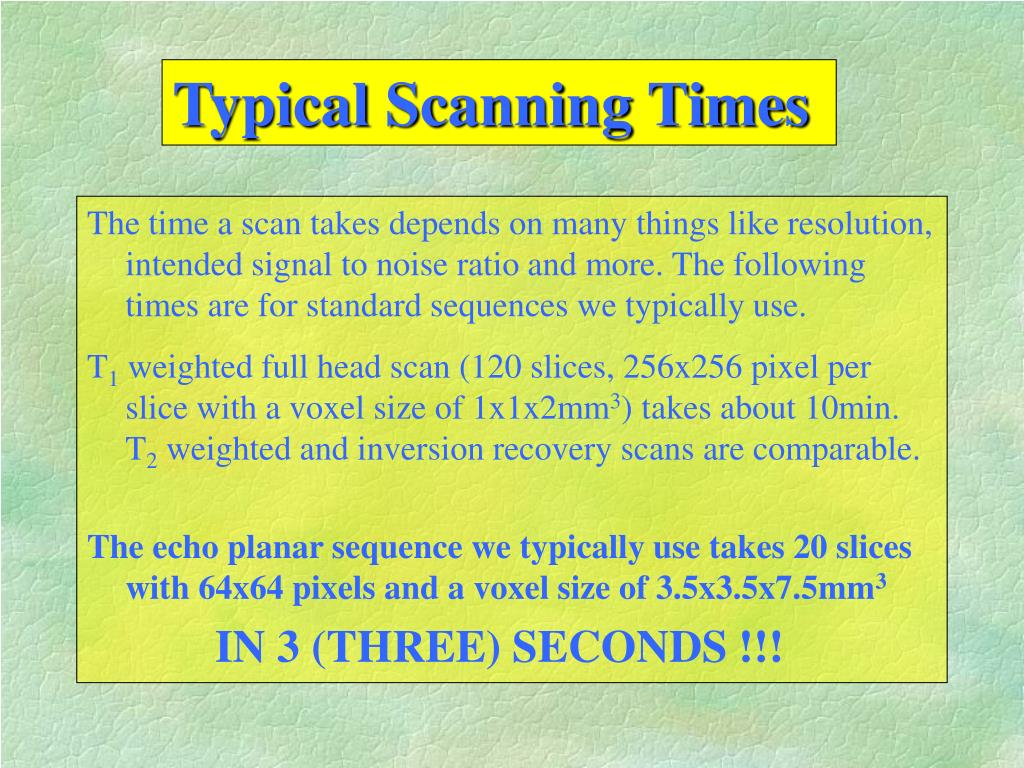 Typical Scanning Times