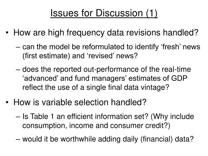 Issues for Discussion (1)