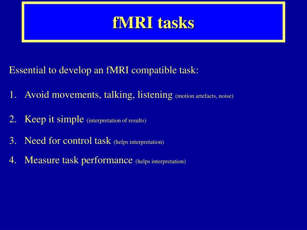 fMRI tasks