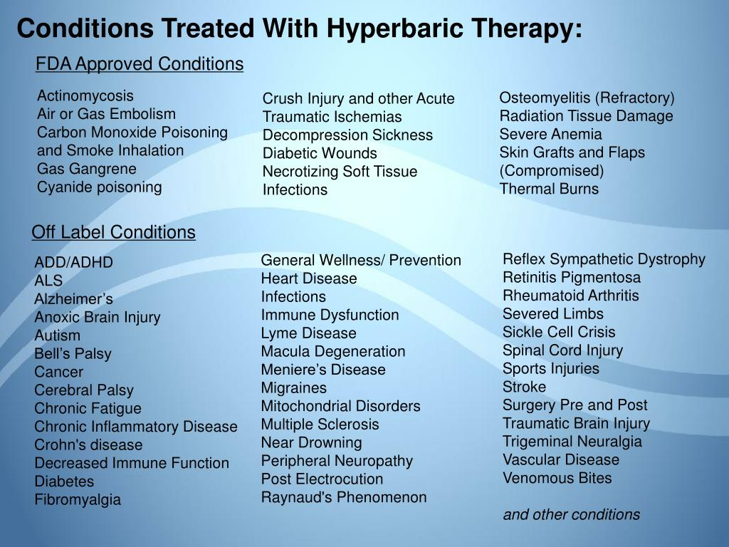 Conditions Treated With Hyperbaric Therapy: