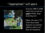 appropriate soil space