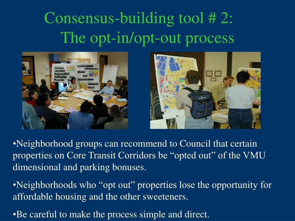 Consensus-building tool # 2: