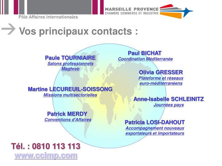 Vos principaux contacts :