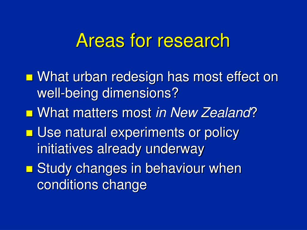 Areas for research