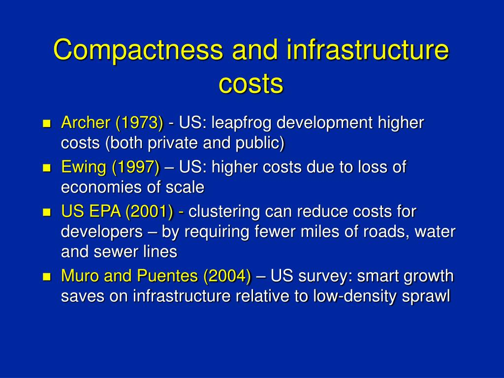 Compactness and infrastructure costs
