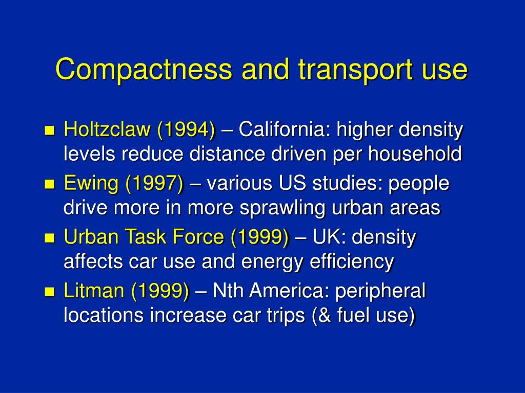 Compactness and transport use