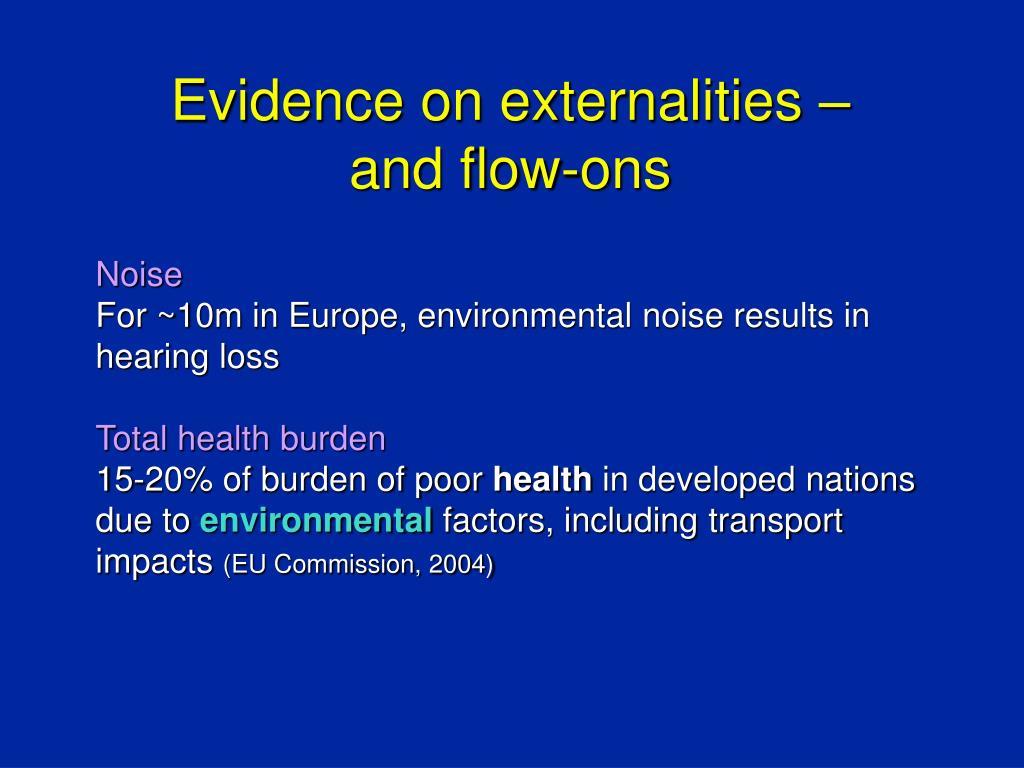Evidence on externalities –