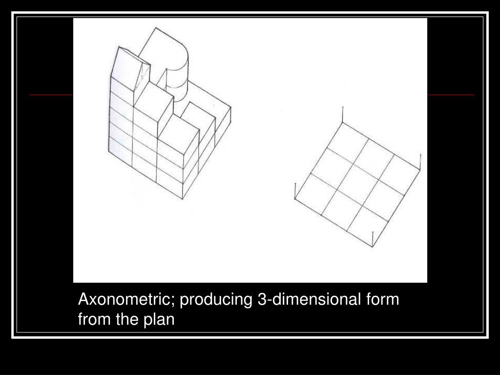 Axonometric; producing 3-dimensional form from the plan