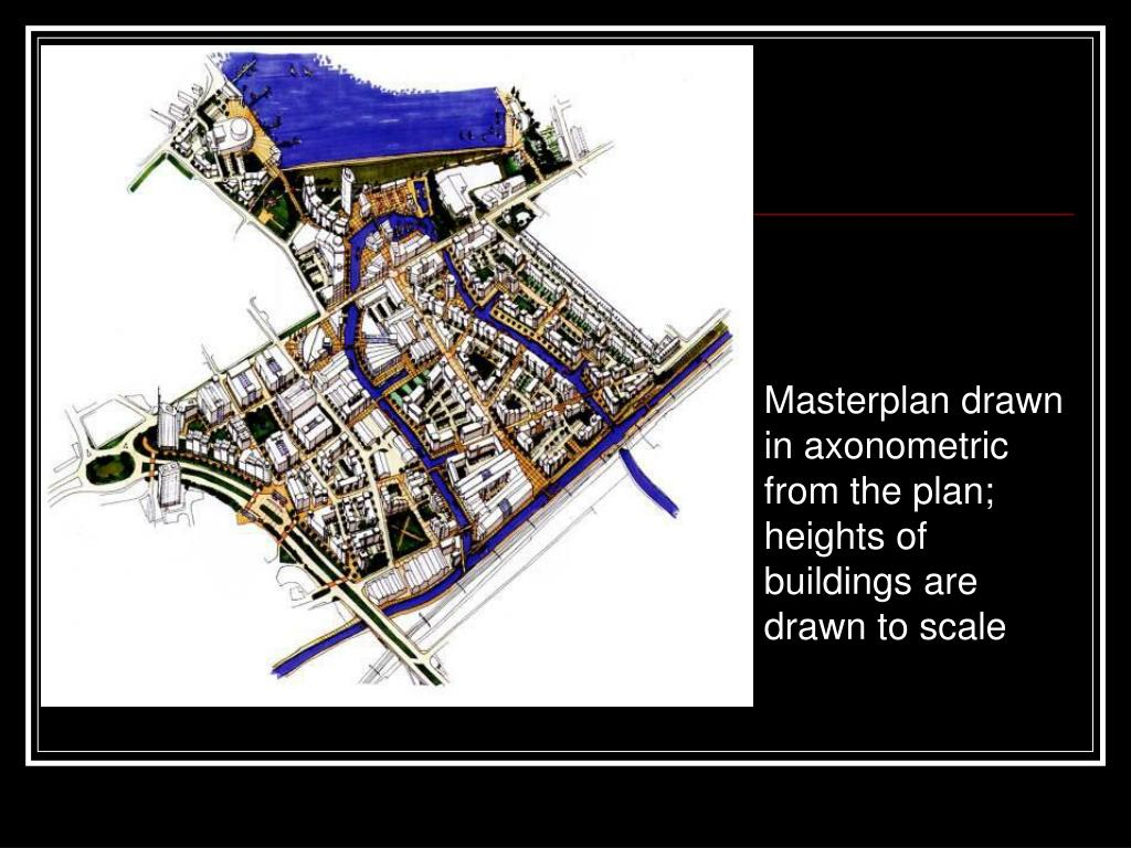 Masterplan drawn in axonometric from the plan; heights of buildings are drawn to scale