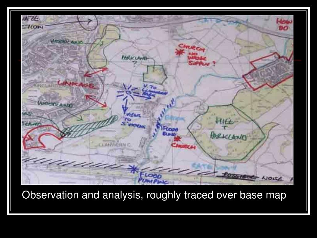 Observation and analysis, roughly traced over base map