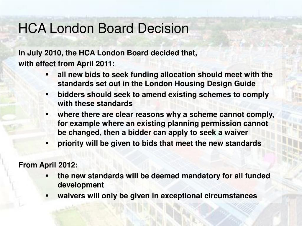 HCA London Board Decision