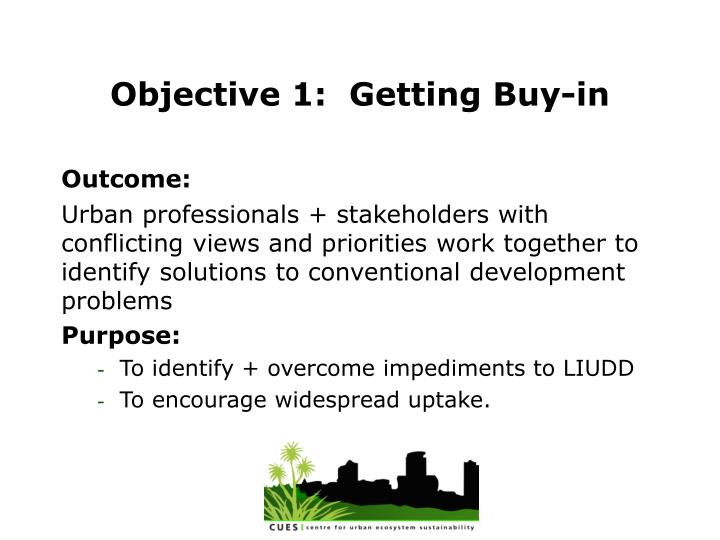 Objective 1 getting buy in