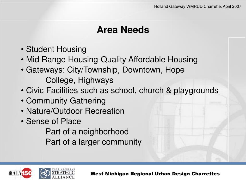Area Needs