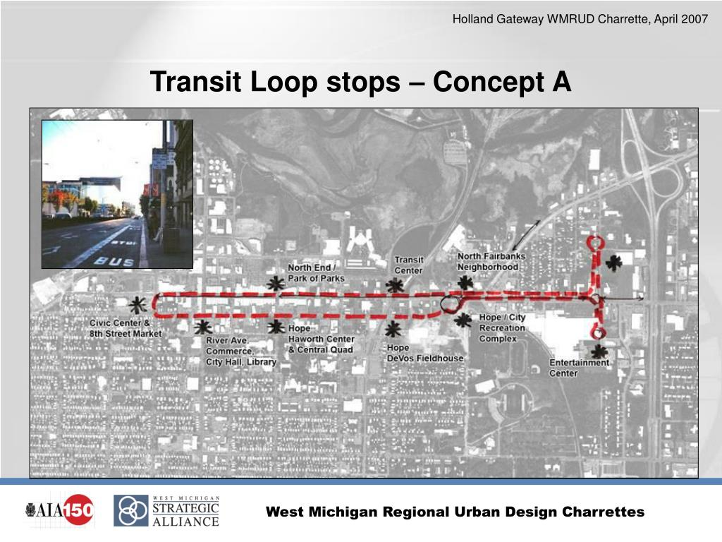 Transit Loop stops – Concept A