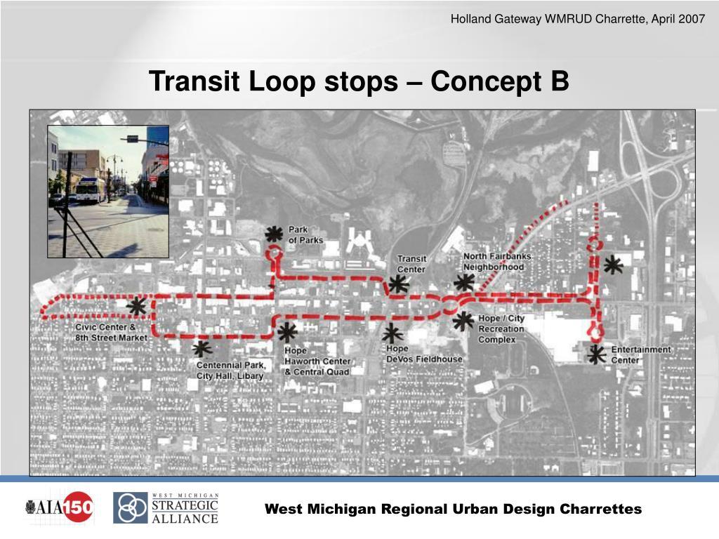 Transit Loop stops – Concept B