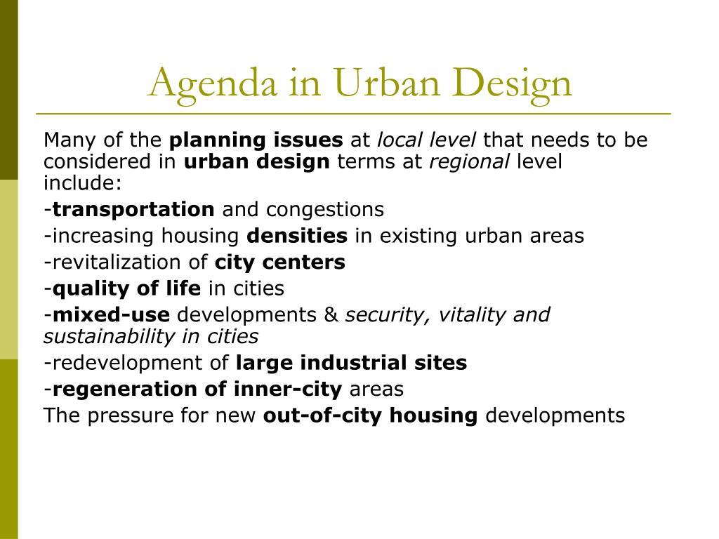 Agenda in Urban Design