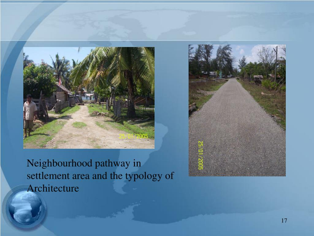 Neighbourhood pathway in settlement area and the typology of Architecture