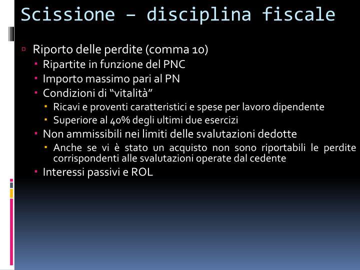 Scissione – disciplina fiscale