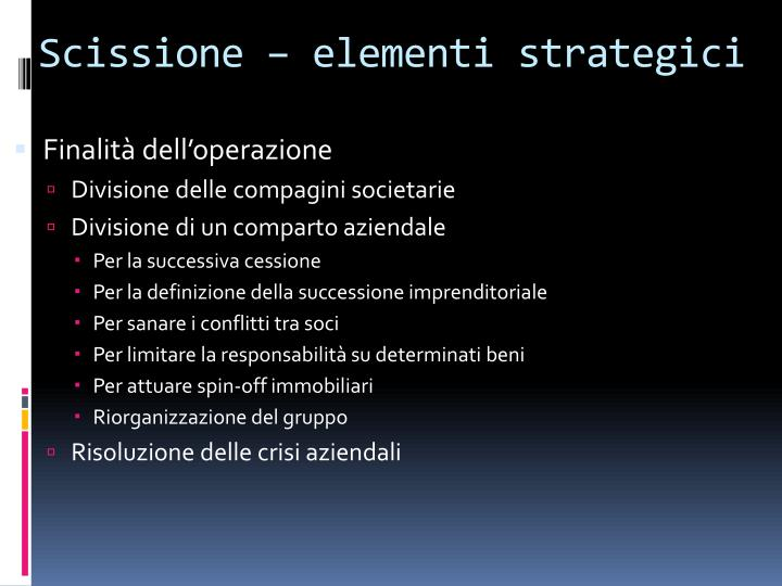 Scissione elementi strategici