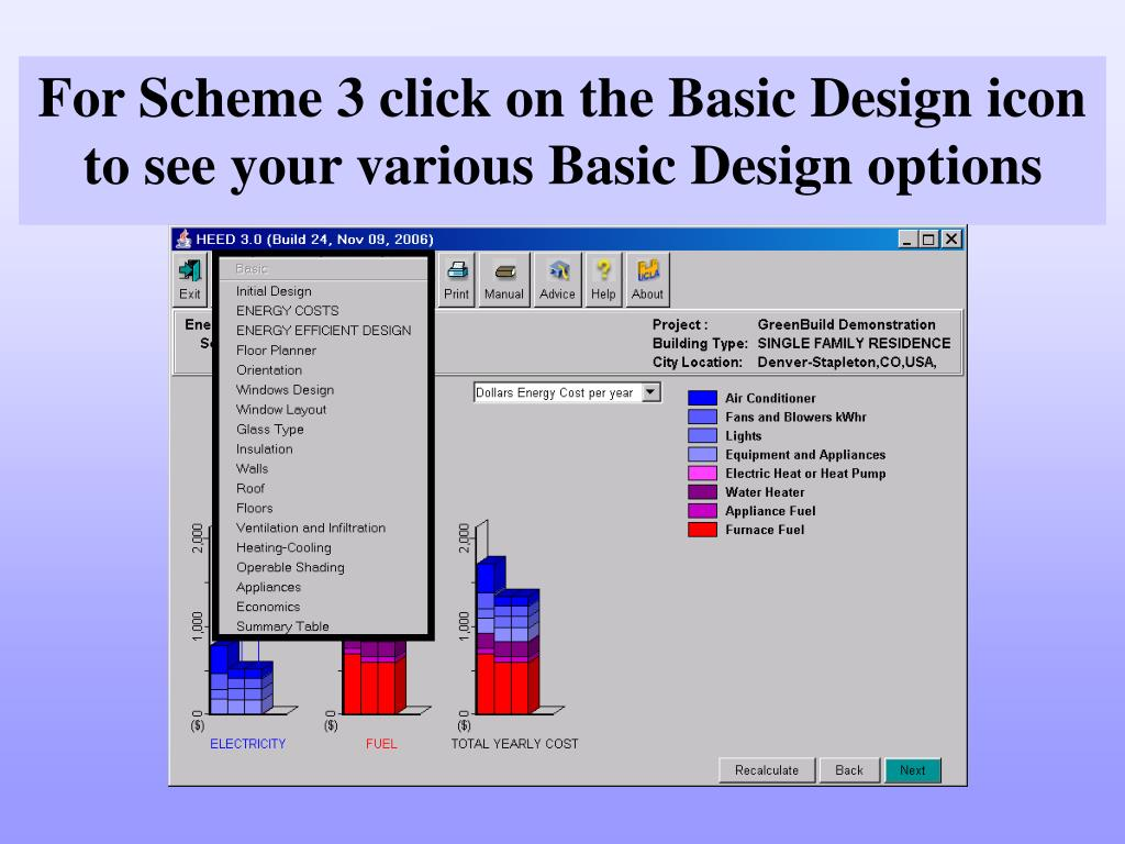 For Scheme 3 click on the Basic Design icon to see your various Basic Design options