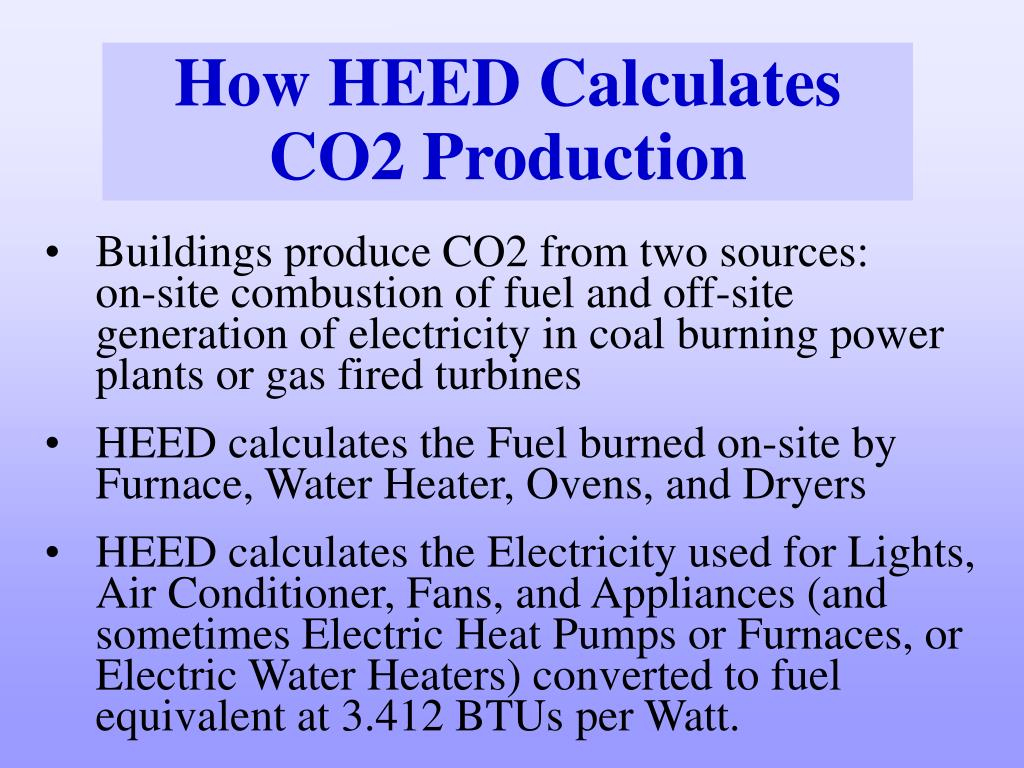 How HEED Calculates CO2 Production