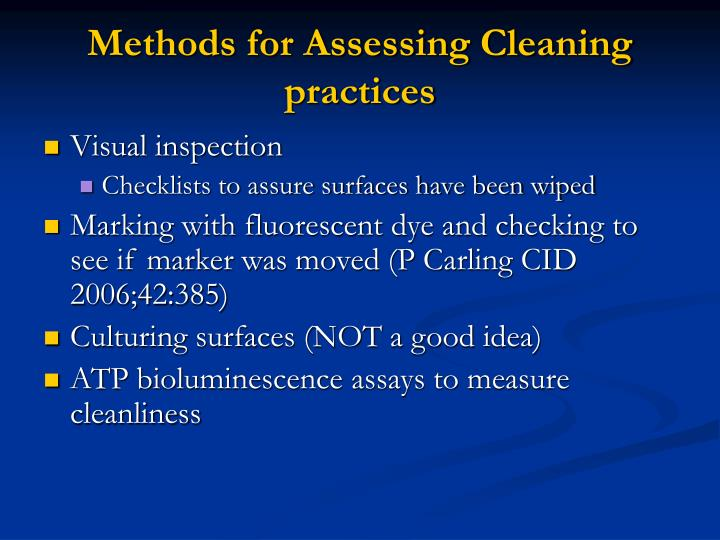 Methods for Assessing Cleaning practices