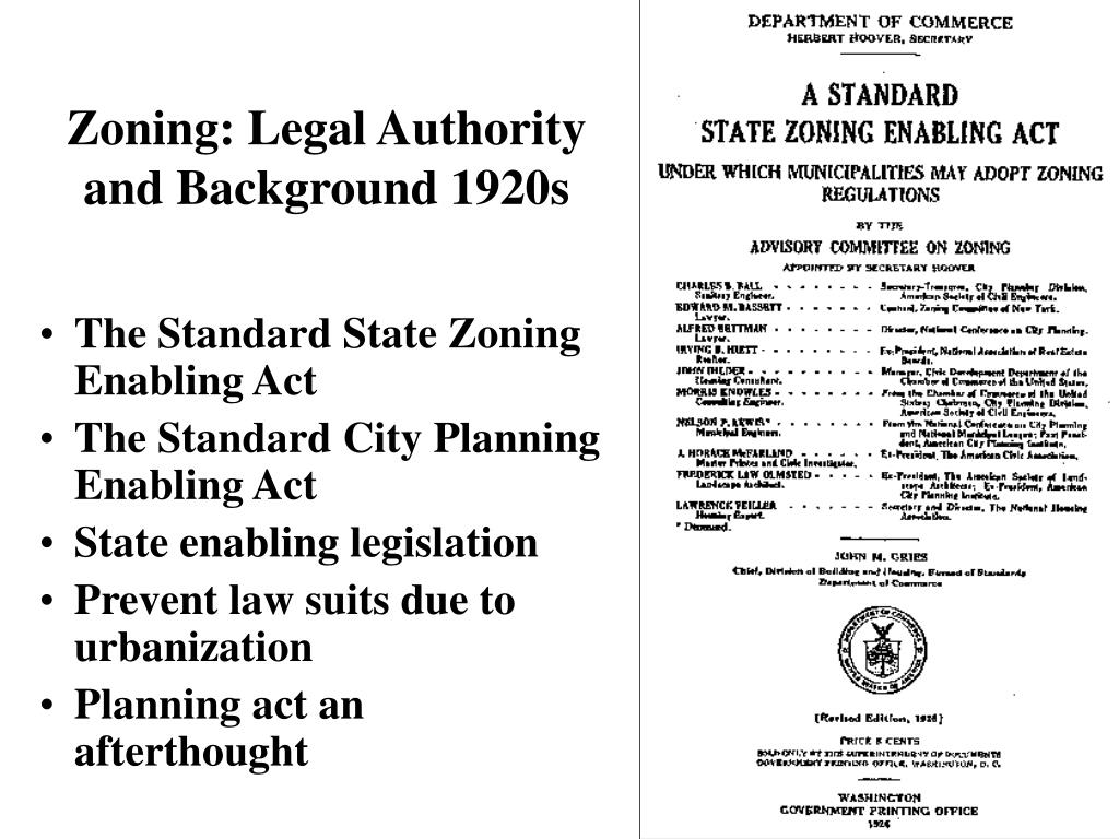 Zoning: Legal Authority and Background 1920s
