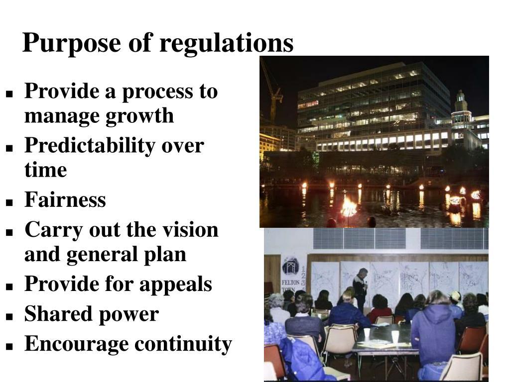 Purpose of regulations