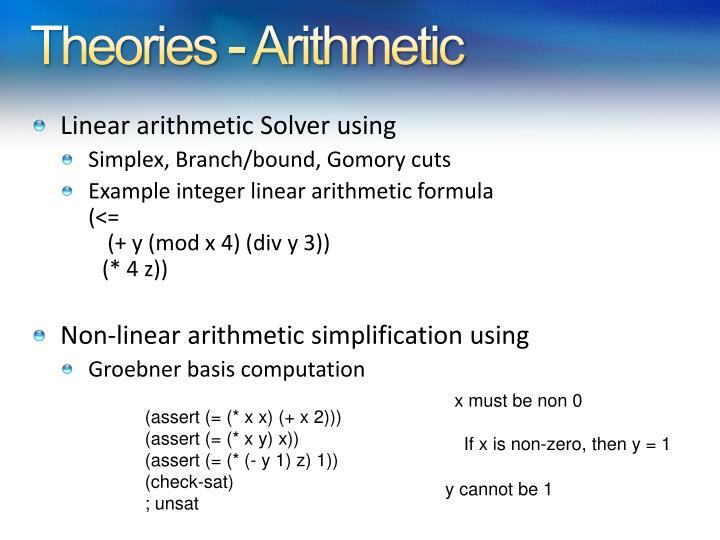Theories - Arithmetic