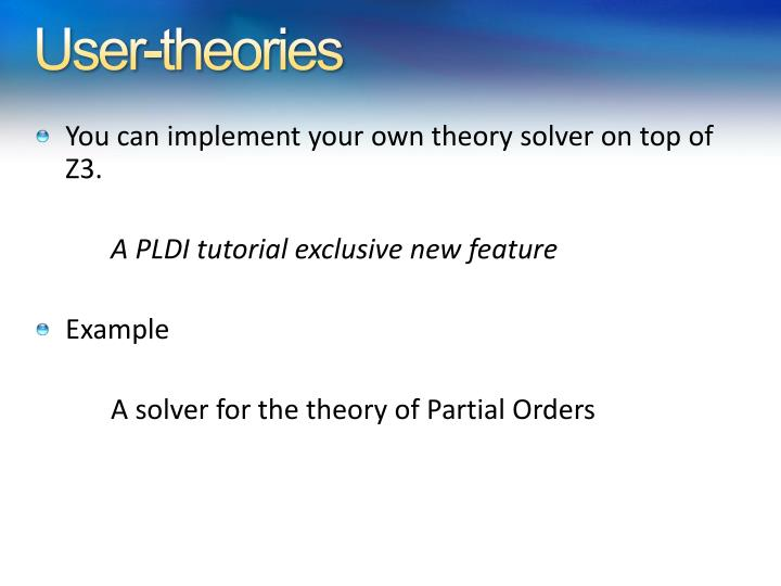 User-theories