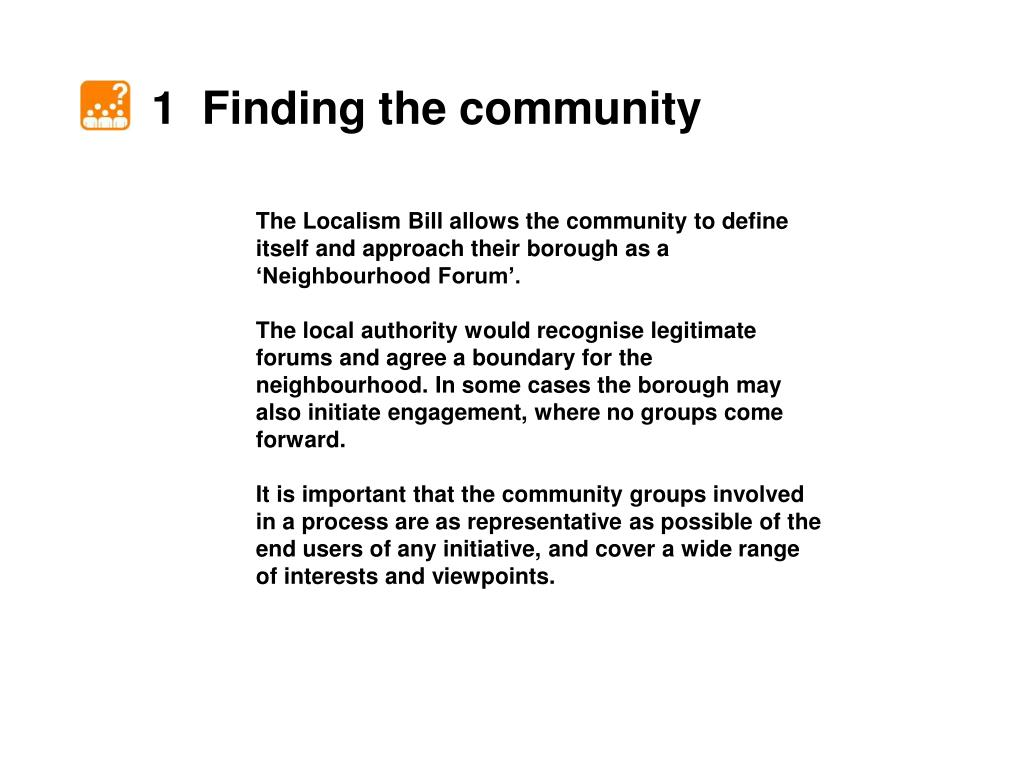 1  Finding the community