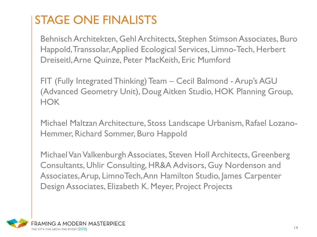STAGE ONE FINALISTS