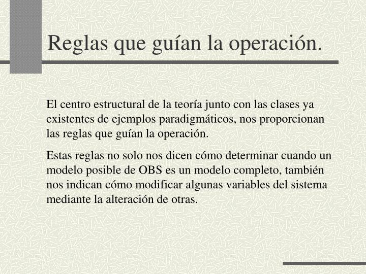 Reglas que guían la operación.