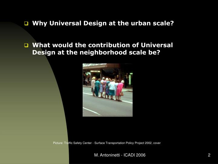 Why Universal Design at the urban scale?