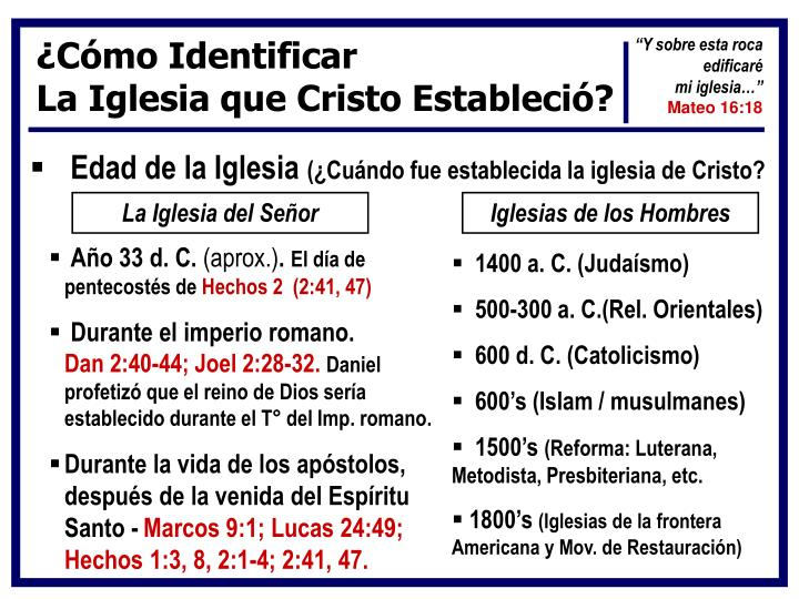 ¿Cómo Identificar                                                           La Iglesia que Cristo Estableció?
