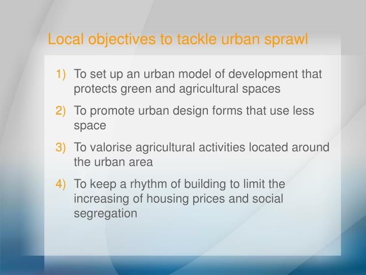 Local objectives to tackle urban sprawl