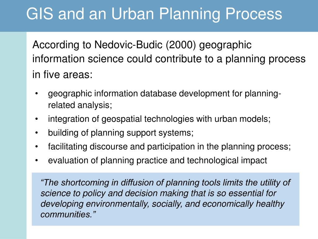 """The shortcoming in diffusion of planning tools limits the utility of science to policy and decision making that is so essential for developing environmentally, socially, and economically healthy communities."""